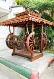 Traditional Thai wooden pavilion. In the park of school Royalty Free Stock Photography