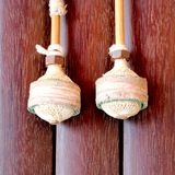 Traditional Thai xylophone mallets. A close-up shot of mallets for traditional-Thai xylophone as found in a temple in Thailand Stock Photo