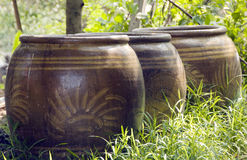 Clay jars. The traditional Thailand clay jars royalty free stock photography