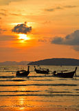 Traditional Thailand long tail boats at sunset Stock Image