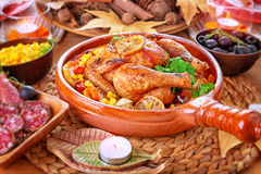 Traditional Thanksgiving day dinner Stock Images