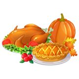 Thanksgiving cartoon illustration. Traditional Thanksgiving day food, cartoon illustration Vector Stock Photos
