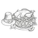Thanksgiving cartoon illustration. Traditional Thanksgiving day food, sketch illustration Vector Stock Images