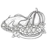 Thanksgiving day illustration. Traditional Thanksgiving day food, sketch illustration Vector Royalty Free Stock Photos