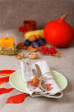 Traditional thanksgiving dining place setting Royalty Free Stock Image