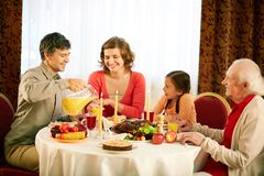 Traditional Thanksgiving dinner Stock Photos