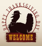 Traditional Thanksgiving Turkey Silhouette Invitation, Vector Illustration Stock Photography