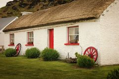 Glencolumbkille Folk Village. county Donegal. Ireland. Traditional thatched cottages in Glencolumbkille Folk Village. county Donegal. Ireland stock photos