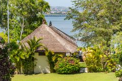 Traditional thatched roof in Bali royalty free stock photography
