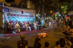 Traditional theatre entertainment in the Old Quarter, Hanoi, Vietnam royalty free stock photography