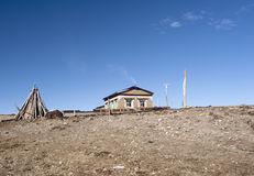 Traditional Tibetan house with chemin Royalty Free Stock Photography