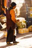 Traditional Tibetan Old Woman Beads Barkhor Lhasa Royalty Free Stock Photo