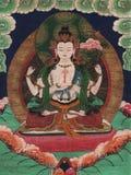 Traditional Tibetan Painting. Traditional Tibetan Style Buddhist Painting - White Tara royalty free stock image