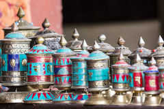 Traditional tibetan praying wheels in Nepal. Stock Images
