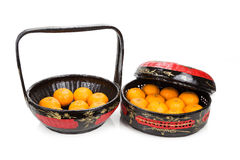 Traditional tiered Bakul Siah Wedding Basket used by Peranakan C. Hinese in parts of Asia Stock Photo