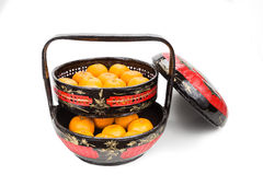 Traditional tiered Bakul Siah Wedding Basket used by Peranakan C. Hinese in parts of Asia Royalty Free Stock Photo