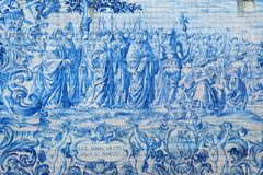 Azulejos on the wall of the Sao Bento Train Station in Porto, Portugal. Traditional tiles - Azulejos on the wall of the Porto University Rectorate. Picture made royalty free stock image