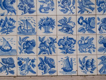 Traditional Tiles With Figures Stock Photo