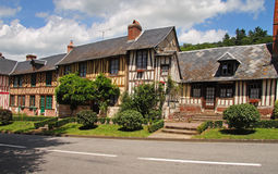 Traditional Timber Framed Normandy Cottages Stock Photos