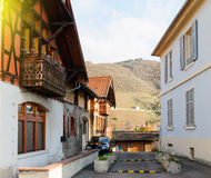 Traditional timbered house with an impressive view of the Alsati Stock Photography