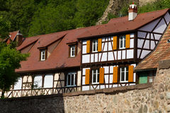 Traditional timbered house in Kaysersberg; Alsace, France Stock Photos
