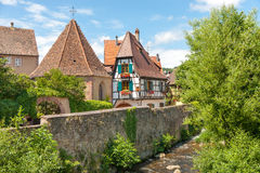 Traditional timbered house in Kaysersberg; Alsace, France Stock Photography
