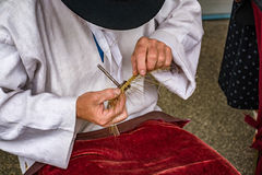 Traditional tinker  making a bowl from wire - Folk art. Traditional tinker Drotar making a bowl from wire - Folk art Stock Photography
