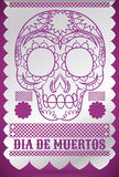 """Traditional Tissue Paper Decoration with Skull for """"Dia de Muertos"""", Vector Illustration. Poster with skull drawn in traditional tissue paper Stock Photos"""