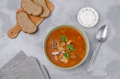 Traditional tomato fish soup royalty free stock photos