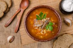 Traditional tomato fish soup royalty free stock photography
