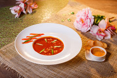 Traditional tomato soup with croutons bouillabaisse Stock Image