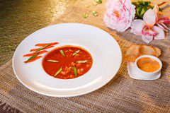 Traditional tomato soup with croutons bouillabaisse Stock Photography