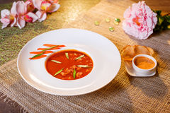 Traditional tomato soup with croutons bouillabaisse Stock Photo