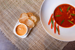 Traditional tomato soup with croutons bouillabaisse Stock Photos