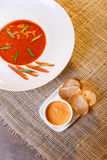Traditional tomato soup with croutons bouillabaisse Stock Images