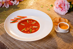 Traditional tomato soup with croutons bouillabaisse Royalty Free Stock Photography