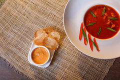 Traditional tomato soup with croutons bouillabaisse Royalty Free Stock Images