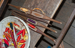 Traditional tools in cotton and silk factory Stock Photos