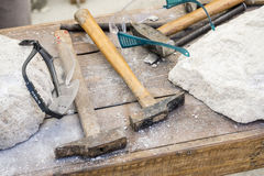 Traditional tools sculptor, wood, hammers and chisels for workin Royalty Free Stock Images