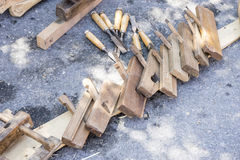 Traditional tools sculptor, wood, hammers and chisels for workin Royalty Free Stock Photography