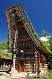 Traditional Toraja house. Traditional house (tongkonan) of Toraja ethnic group. Toraja people inhabit the Tana Toraja region in South Sulawesi, Indonesia stock photo