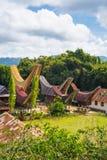 Traditional Toraja village in idyllic landscape Royalty Free Stock Photos