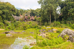 Traditional Toraja village in idyllic landscape Stock Image