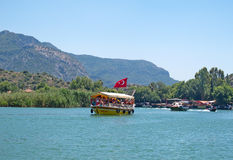 Traditional tourist boats at Dalyan Bogazi river, Turkey Stock Images