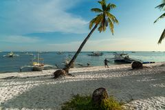 Traditional tourist boats - Malapascua Island - Philippines Royalty Free Stock Images