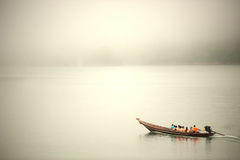 Traditional tourists boat in Cheow Larn lake,Thailand. Royalty Free Stock Image