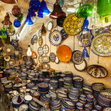 Traditional trading shop with pottery in the old city of Jerusalem, Israel Royalty Free Stock Photo
