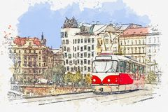 Traditional tram in Prague.