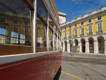 Traditional trams downtown Lisbon Royalty Free Stock Images