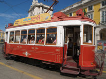 Traditional trams downtown Lisbon Stock Image